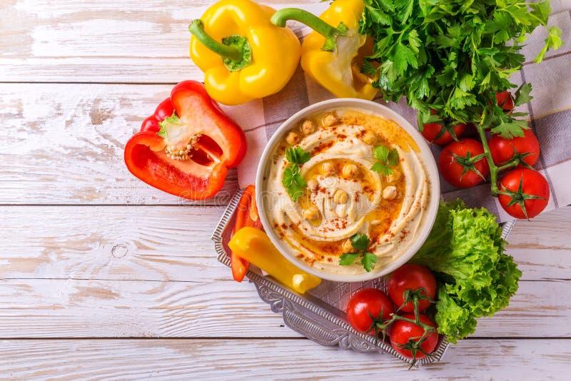 Hummus и нут Еврейская кухня Взгляд сверху стоковое фото
