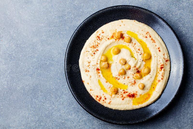 Hummus, chickpea upad, pikantność Odgórny widok kosmos kopii obrazy royalty free