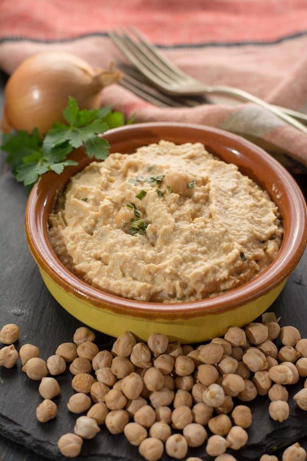 Hummus, codzienni posiłki w Izrael zrobił od chickpeas i ingredi obraz royalty free