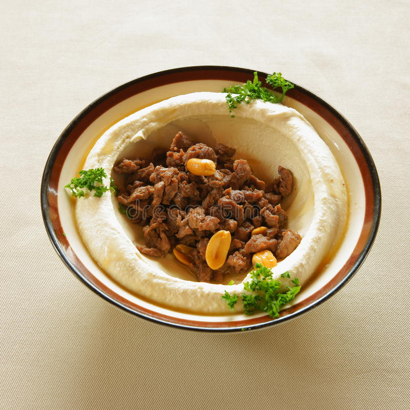 Hummus con lo shawarma fotografia stock libera da diritti