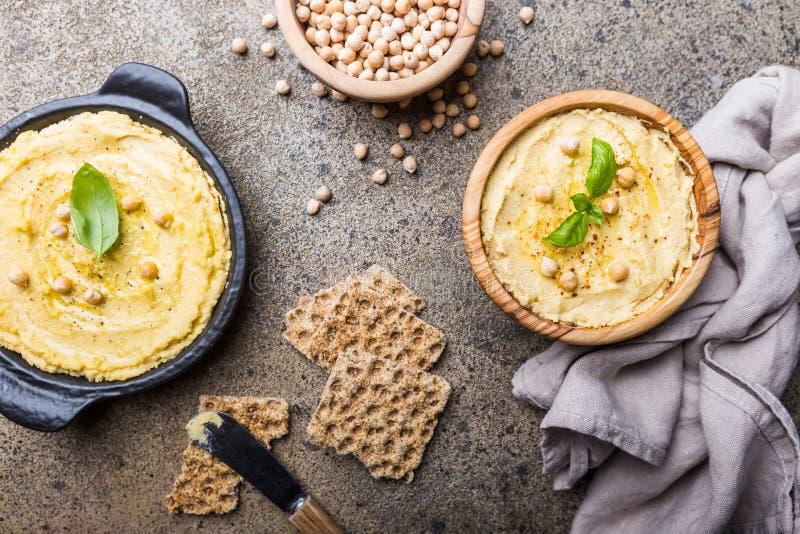 Hummus cremoso casalingo sano fotografia stock