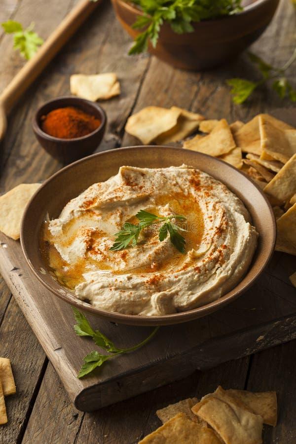 Hummus cremoso casalingo sano immagine stock