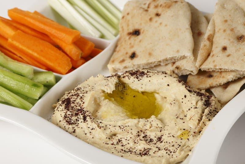 Hummus crudites i upad obrazy stock