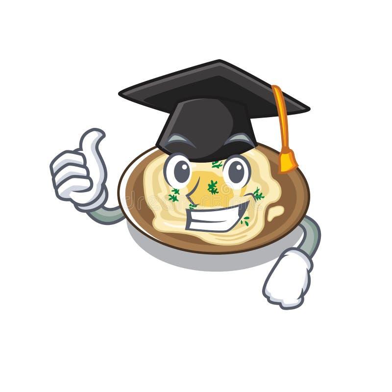 Hummus de graduação servido sobre mesa de cartoon de madeira ilustração stock