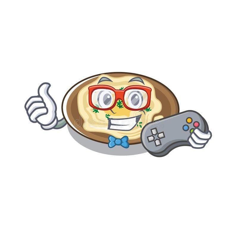Hummus de jogador na placa de desenho animado ilustração do vetor