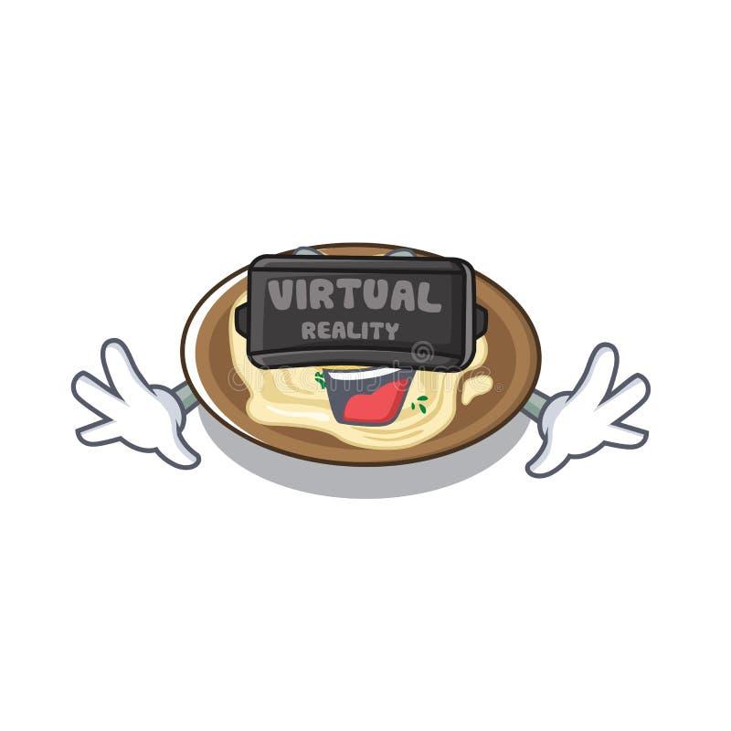 Hummus de realidade virtual em uma placa de desenho animado ilustração do vetor