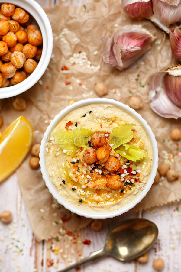 Hummus, delicious vegan dip stock image