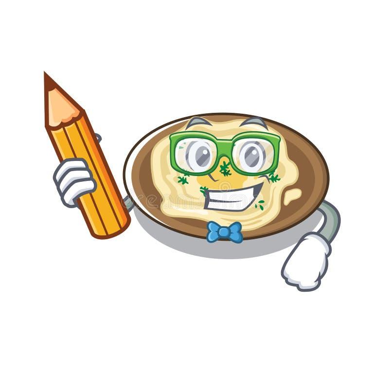 Hummus estudante serviu sobre mesa de cartoon de madeira ilustração do vetor