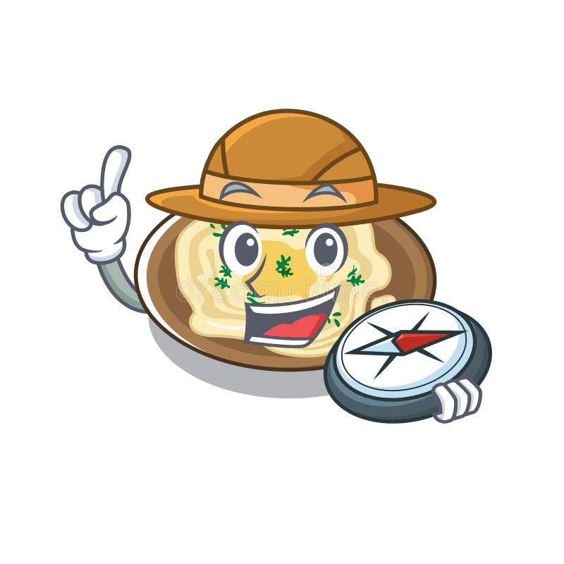 Hummus explorador na placa de desenho animado ilustração stock