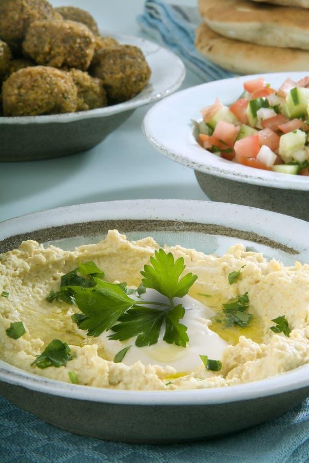 Free Hummus Falafel And Arab Salad Royalty Free Stock Image - 3527136