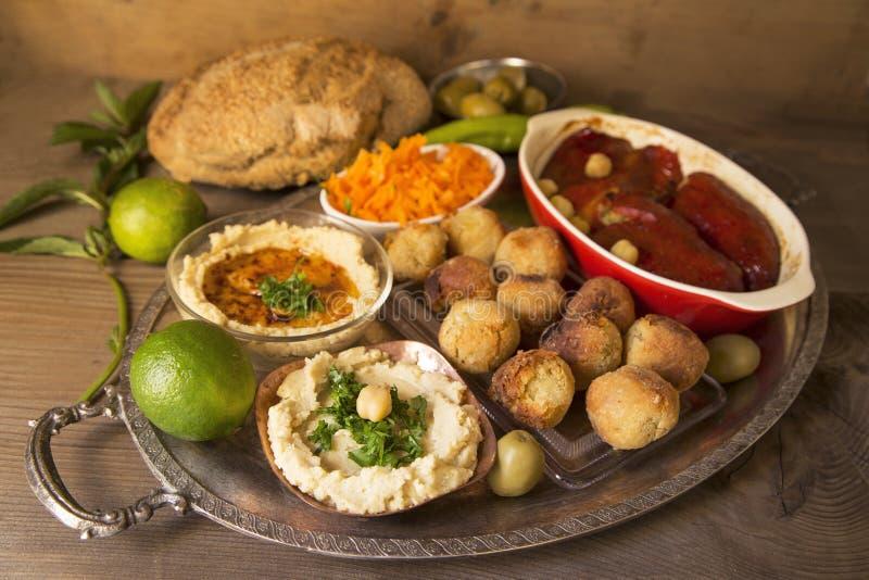 Hummus and falafel royalty free stock photo