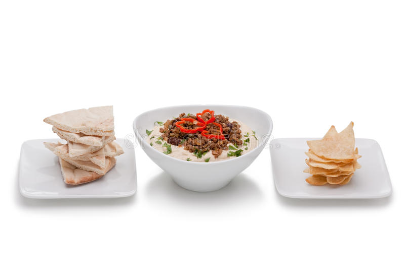 Hummus With Ground Beef Royalty Free Stock Image