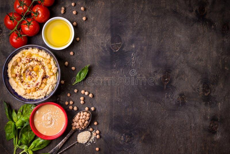 Hummus-Hintergrund lizenzfreie stockfotografie