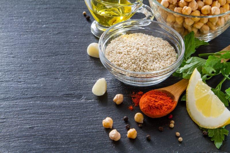 Hummus ingredienser royaltyfri bild