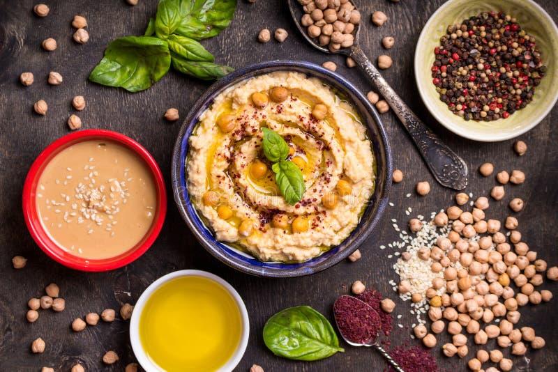 Hummus ingredienser arkivbilder