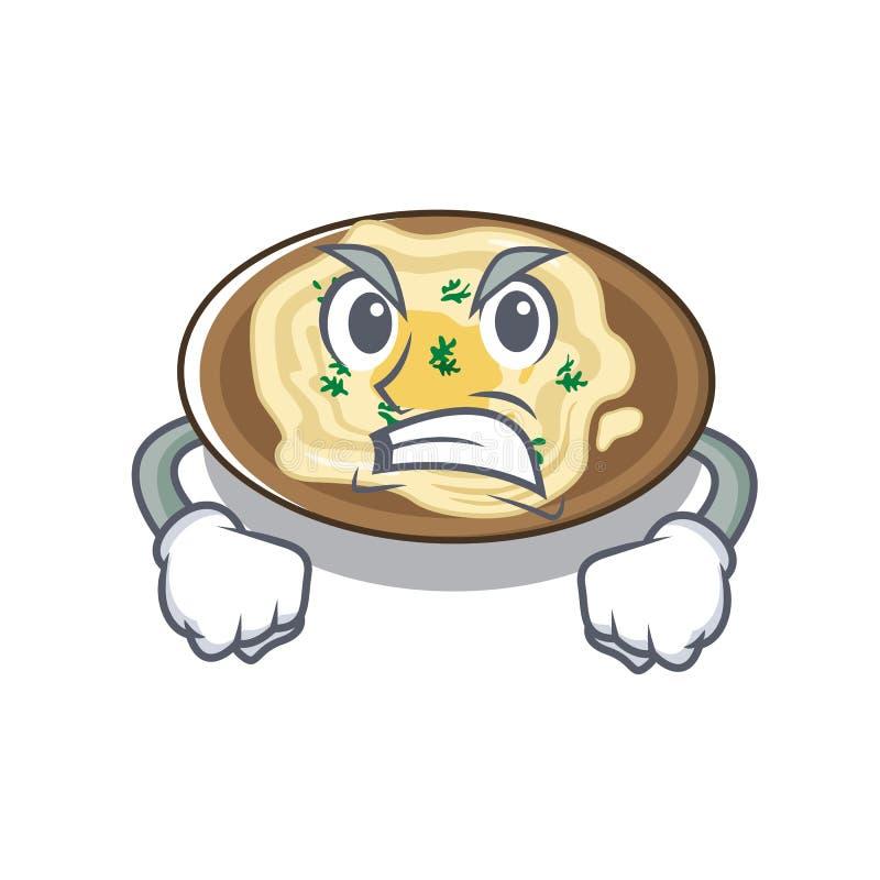 Hummus irritado na placa de um desenho animado ilustração stock