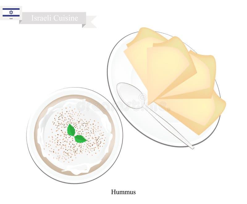 Hummus of Israëlische Kekers Uitgespreide Onderdompeling of Uitgespreid stock illustratie