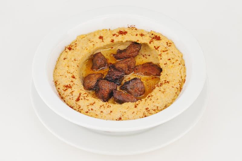 Hummus med kött royaltyfri foto