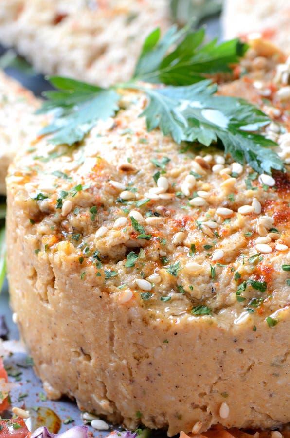Hummus mit Samen des indischen Sesams lizenzfreie stockfotos