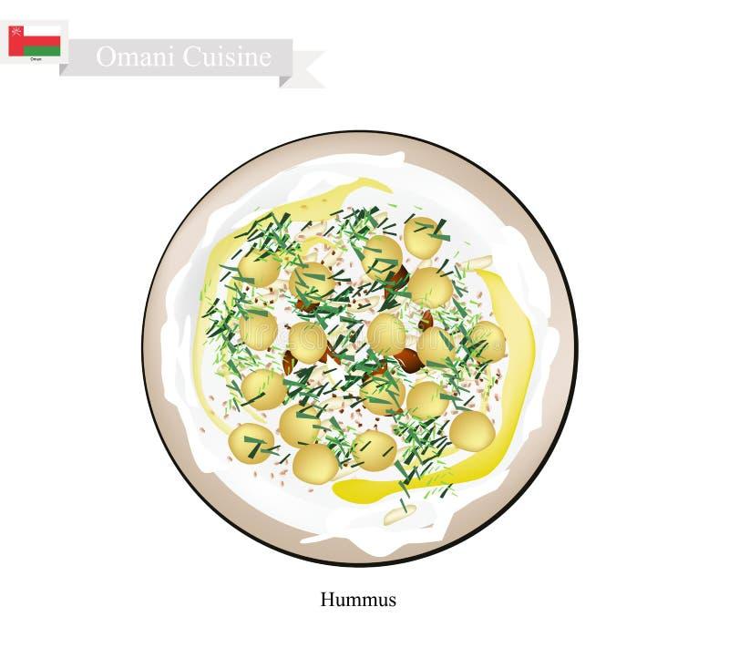 Hummus of Omani Kekers Uitgespreide Onderdompeling of Uitgespreid royalty-vrije illustratie