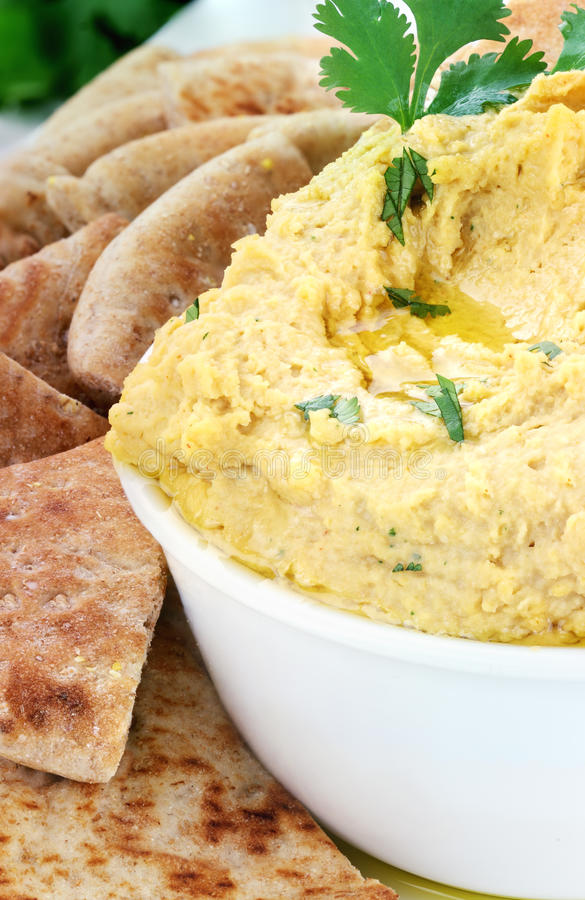 Hummus And Pita bread royalty free stock photography