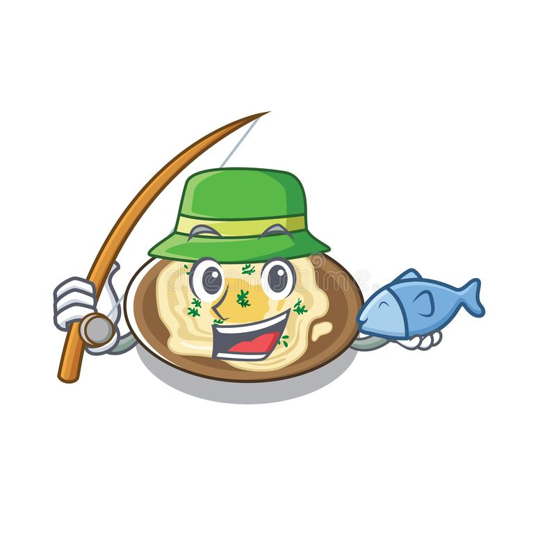 Hummus poławiający na płycie karykatury ilustracja wektor