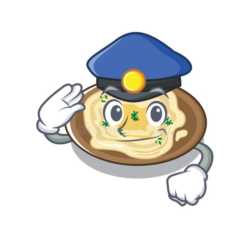 Hummus policial é cozido em mascote ilustração do vetor
