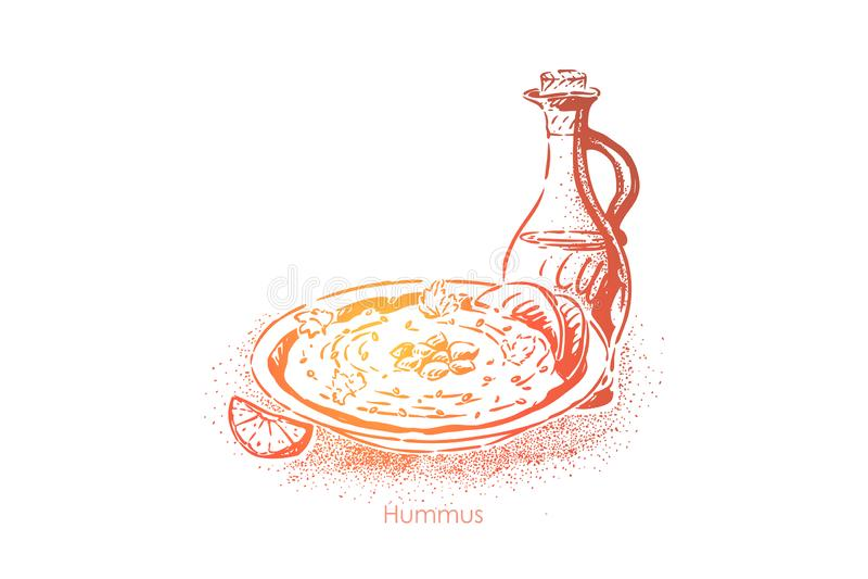 hummus repas israélien délicieux, plat de pois chiche avec le tahini, huile d'olive, jus de citron, ail et paprika illustration libre de droits