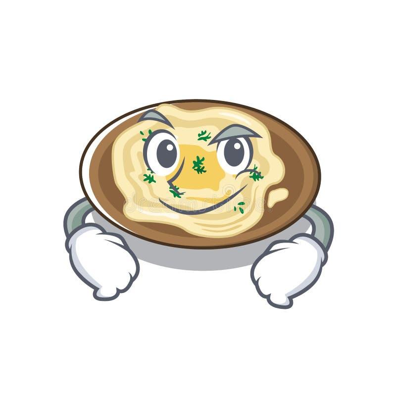 Hummus risonho servido sobre mesa de cartoon de madeira ilustração do vetor