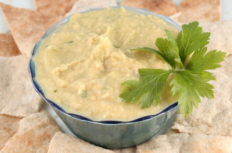 Hummus und pita lizenzfreies stockfoto
