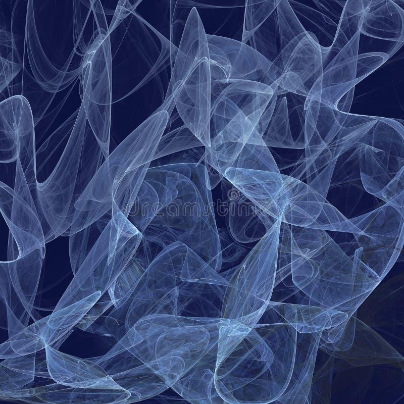 Humo azul del fractal del extracto en fondo azul marino stock de ilustración