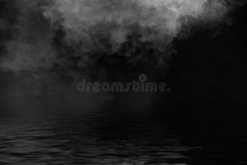 Humo con la reflexión en agua La textura de la niebla del misterio sobrepone el fondo libre illustration