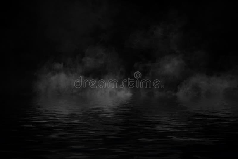Humo con la reflexión en agua La textura de la niebla del misterio sobrepone el fondo ilustración del vector