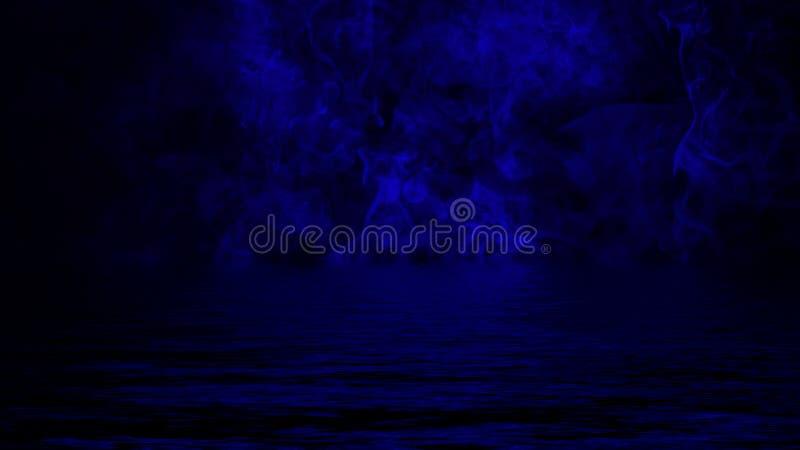 Humo con la reflexi?n en agua Fondo de la textura de la niebla del misterio imagen de archivo