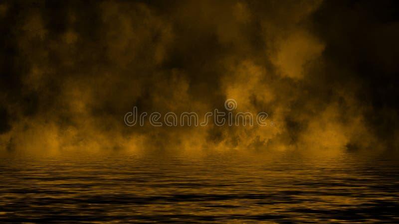 Humo con la reflexi?n en agua La textura amarilla de la niebla del misterio sobrepone el fondo fotos de archivo