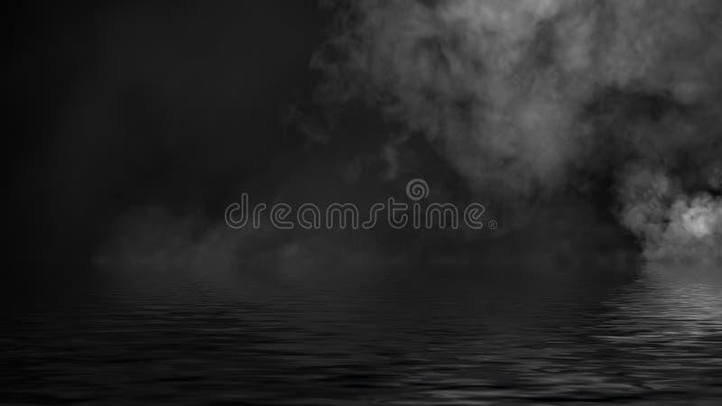 Humo con la reflexi?n en agua La textura de la niebla del misterio sobrepone el fondo fotografía de archivo