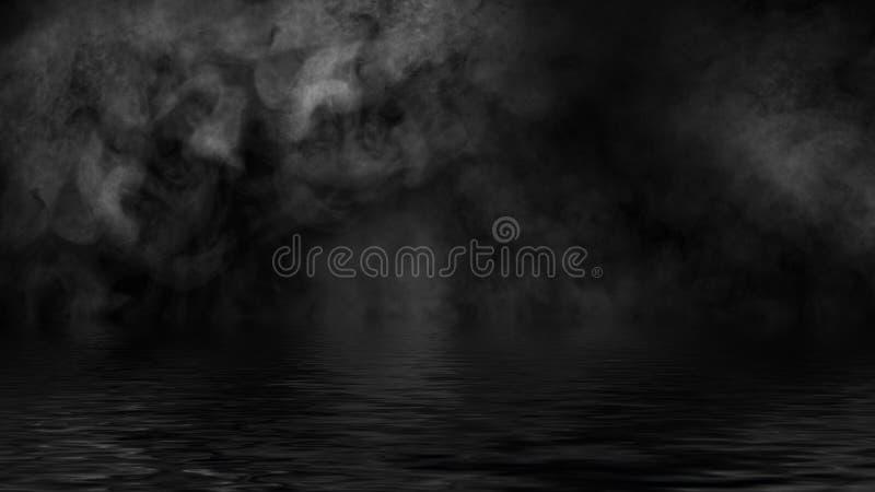Humo con la reflexi?n en agua La textura de la niebla del misterio sobrepone el fondo imagenes de archivo