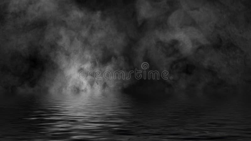 Humo con la reflexi?n en agua La textura de la niebla del misterio sobrepone el fondo fotos de archivo libres de regalías