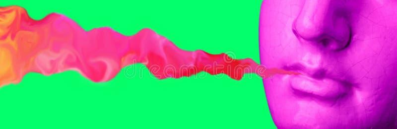 Humo de la escultura antigua púrpura de los labios en un fondo retro del vaporwave Collage del arte contemporáneo fotografía de archivo