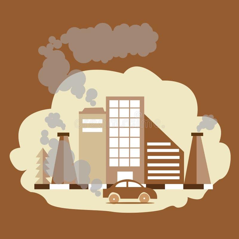 Humo de la fábrica del CO2 del CO de la contaminación atmosférica del dióxido del monóxido de carbono de la chimenea ilustración del vector