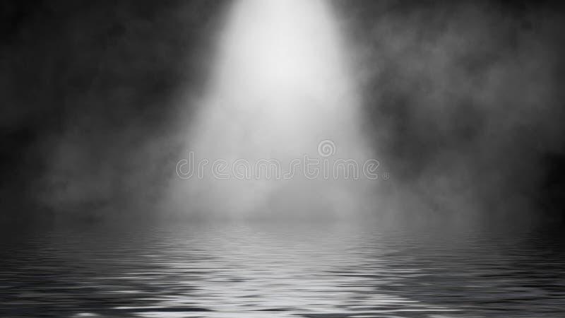 Humo del proyector con la reflexi?n en agua La textura de la niebla del misterio sobrepone el fondo Elemento del dise?o imagen de archivo