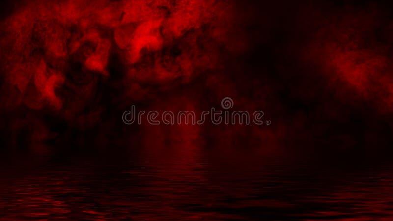 Humo rojo con la reflexi?n en agua La textura de la niebla del misterio sobrepone el fondo imagenes de archivo