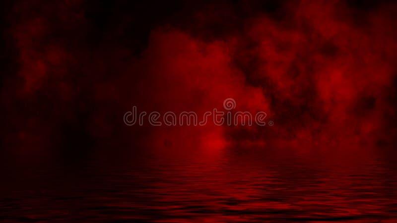 Humo rojo con la reflexi?n en agua La textura de la niebla del misterio sobrepone el fondo imagen de archivo libre de regalías