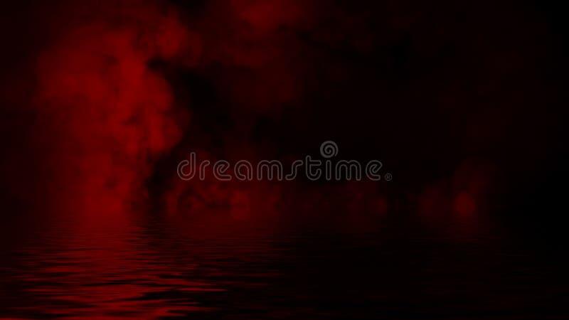 Humo rojo con la reflexi?n en agua La textura de la niebla del misterio sobrepone el fondo foto de archivo libre de regalías