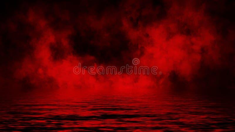 Humo rojo con la reflexi?n en agua La textura de la niebla del misterio sobrepone el fondo Elemento del dise?o fotos de archivo