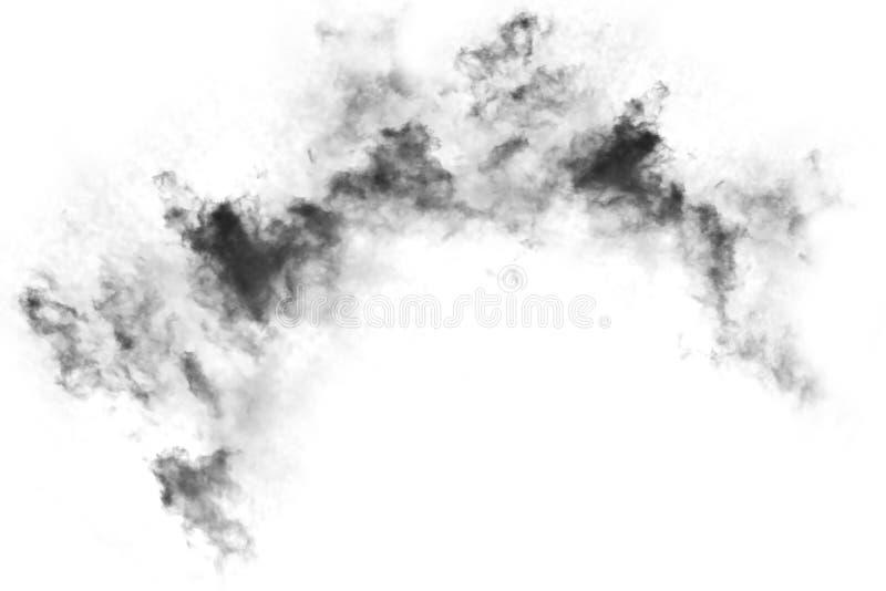 Humo texturizado, negro abstracto, aislado en el fondo blanco stock de ilustración