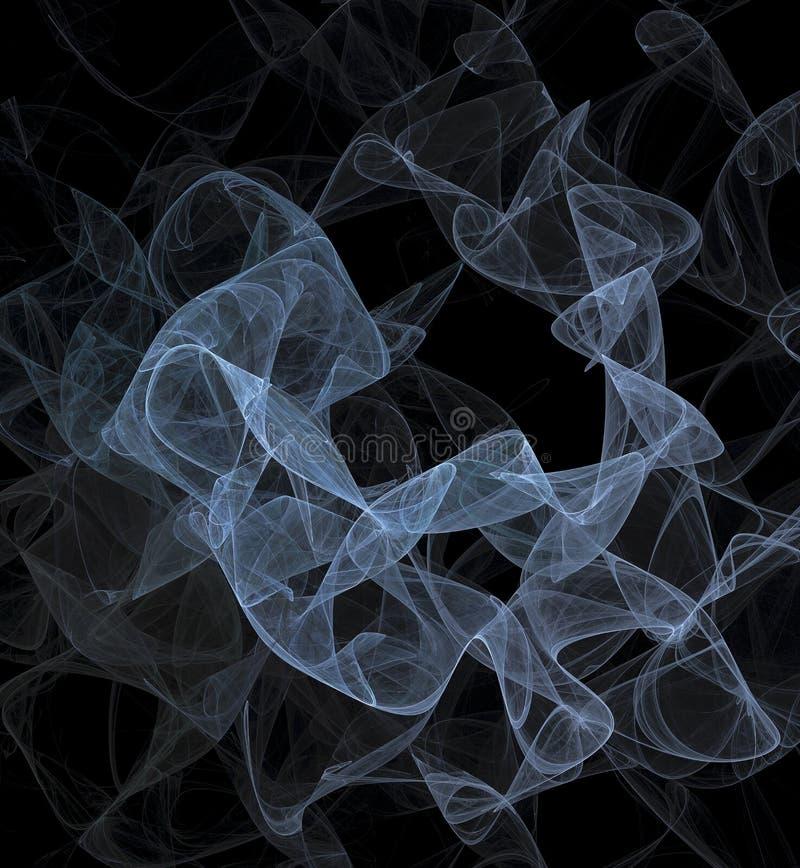 Humo transparente azul Velo azul del fractal del extracto en imagen generada por ordenador del fondo oscuro ilustración del vector