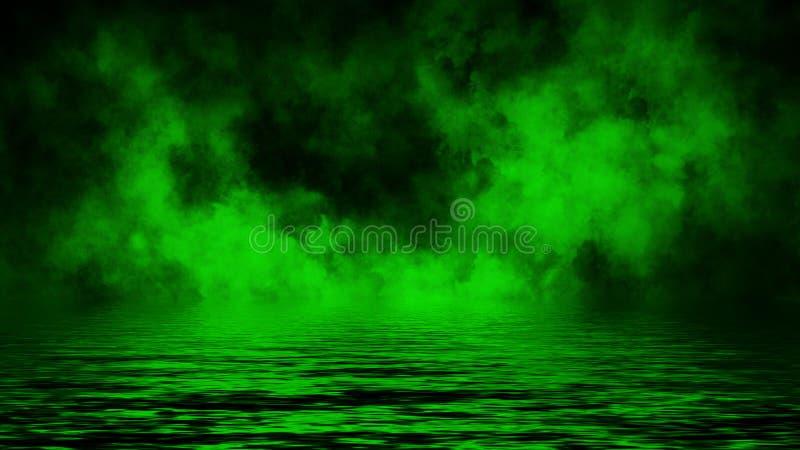 Humo verde con la reflexi?n en agua Fondo de la textura de la niebla del misterio Elemento del dise?o imagenes de archivo