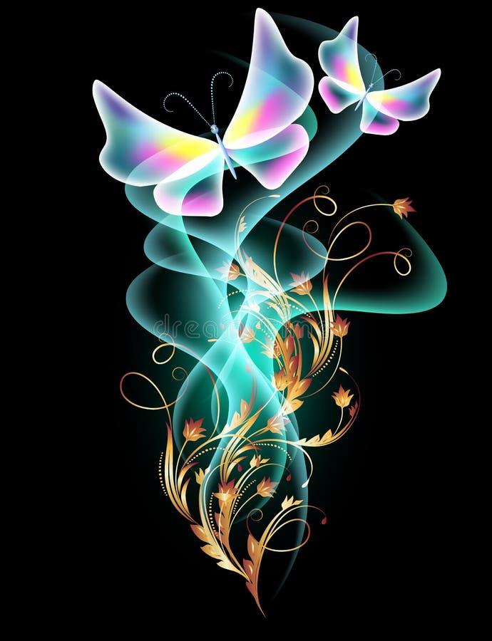 Humo y mariposas transparentes ilustración del vector