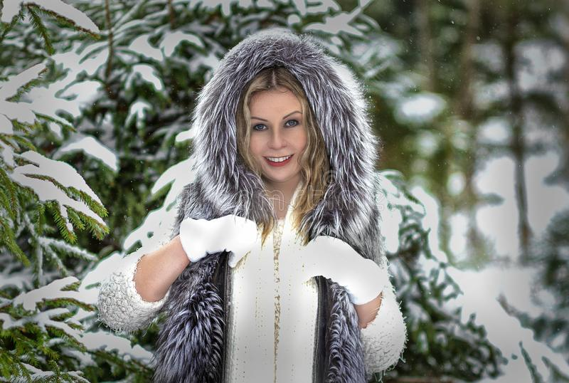 Humor alegre do inverno, da menina com olhos azuis maravilhosos imagem de stock royalty free